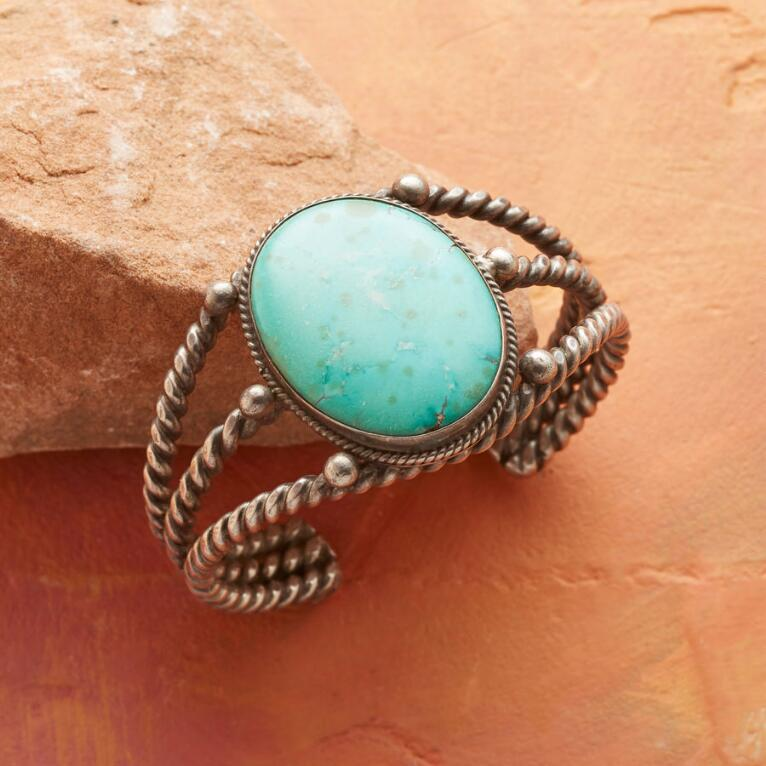 1940S ROPED ROYSTON TURQUOISE CUFF
