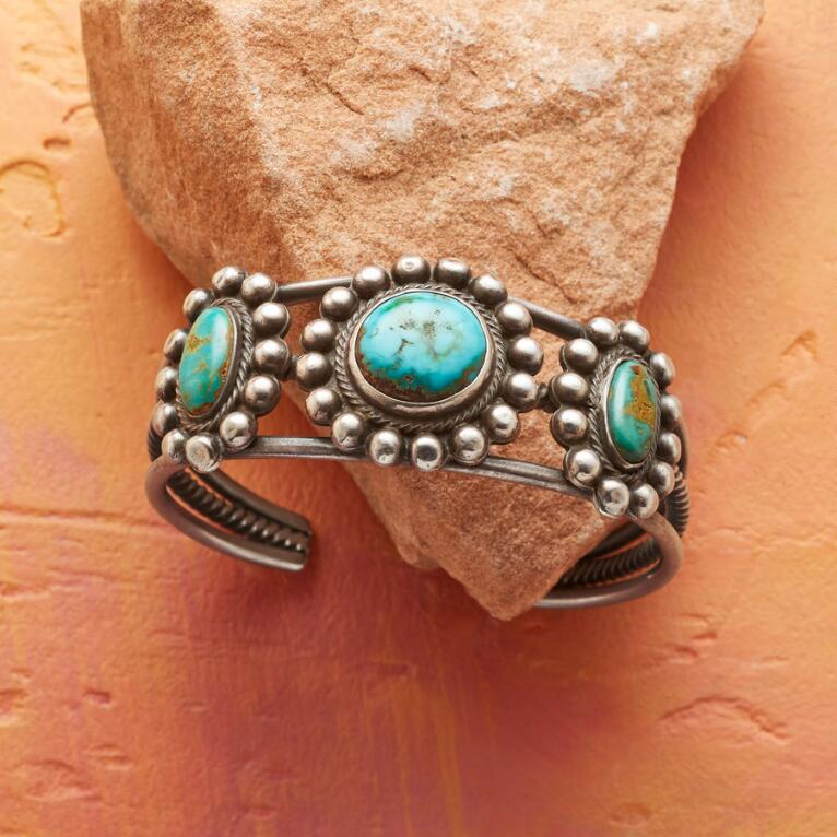 1950S FOX TURQUOISE FLOWER CUFF