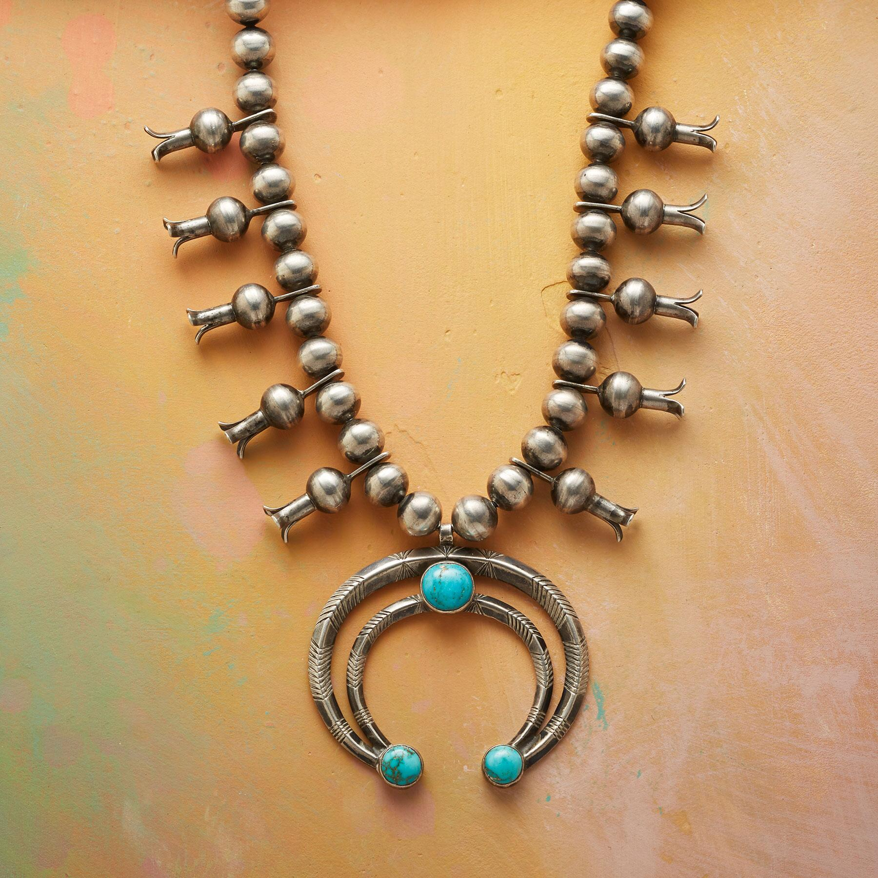 EASTER BLUE SQUASH BLOSSOM NECKLACE: View 1