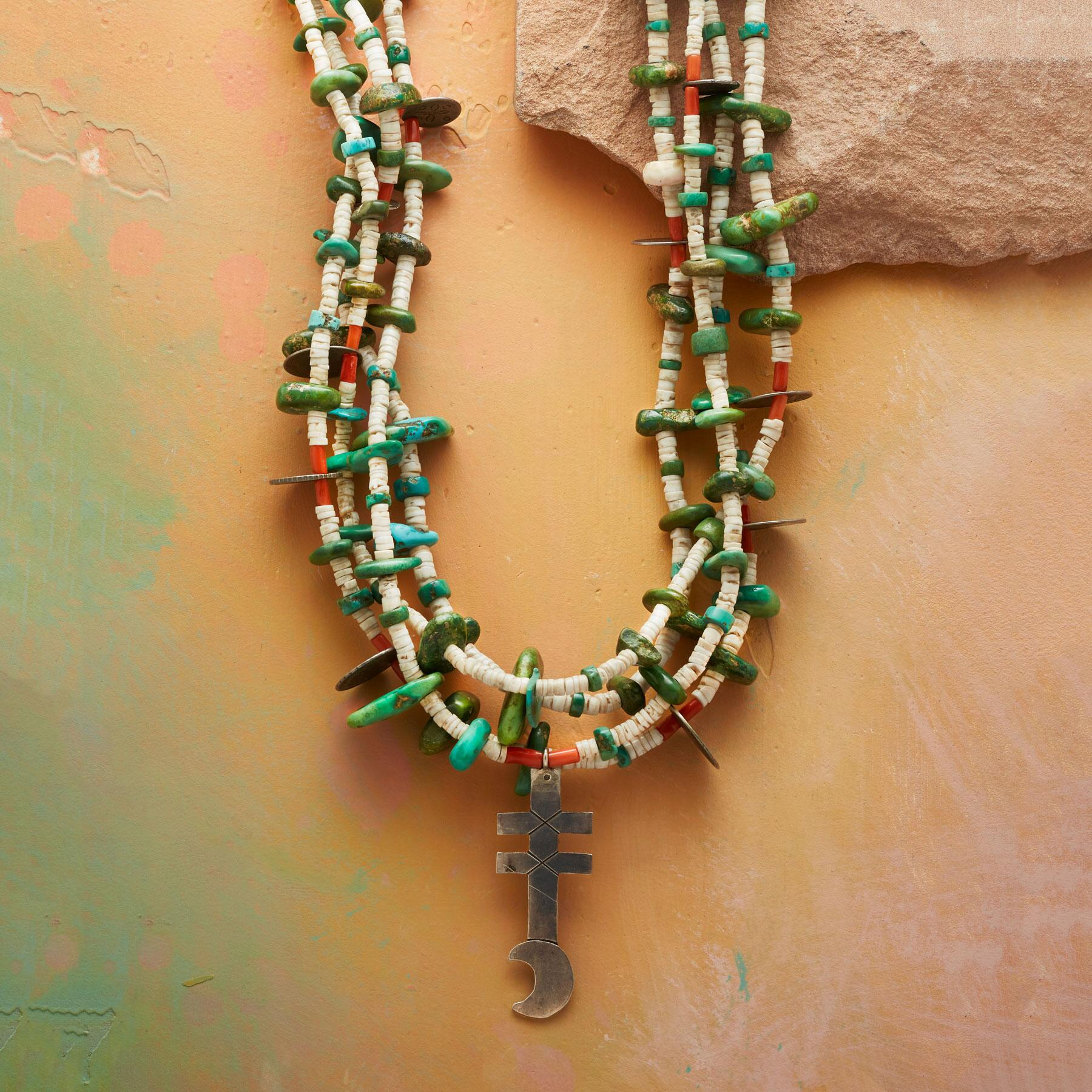 1920S FOUR-STRAND SANTO DOMINGO NECKLACE: View 1