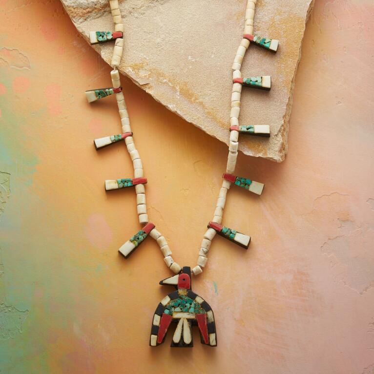 1930S SANTO DOMINGO THUNDERBIRD NECKLACE