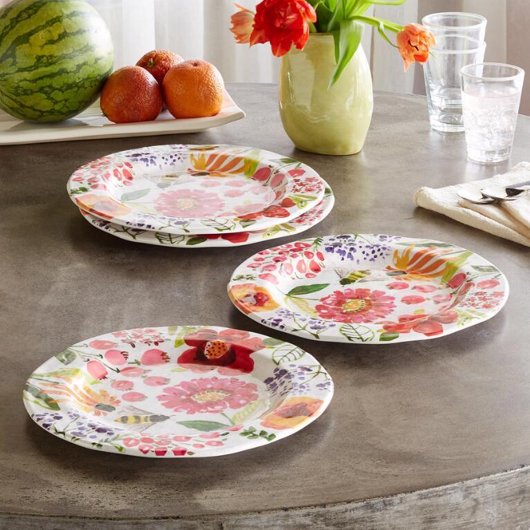 FLORAL MELAMINE DINNER PLATES, SET OF 4