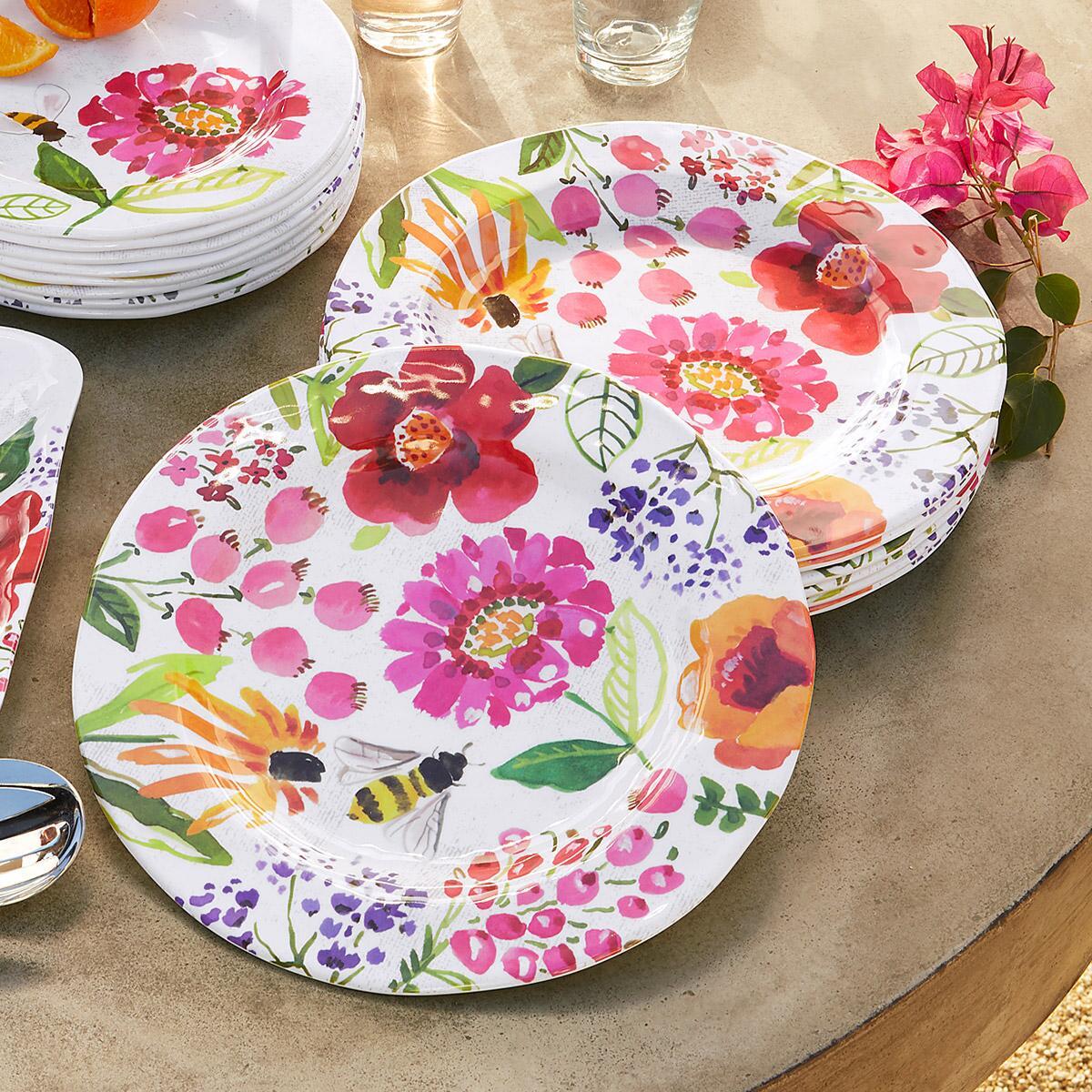 FLORAL MELAMINE DINNER PLATES, SET OF 4: View 2
