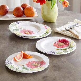 FLORAL MELAMINE SALAD PLATES, SET OF 4