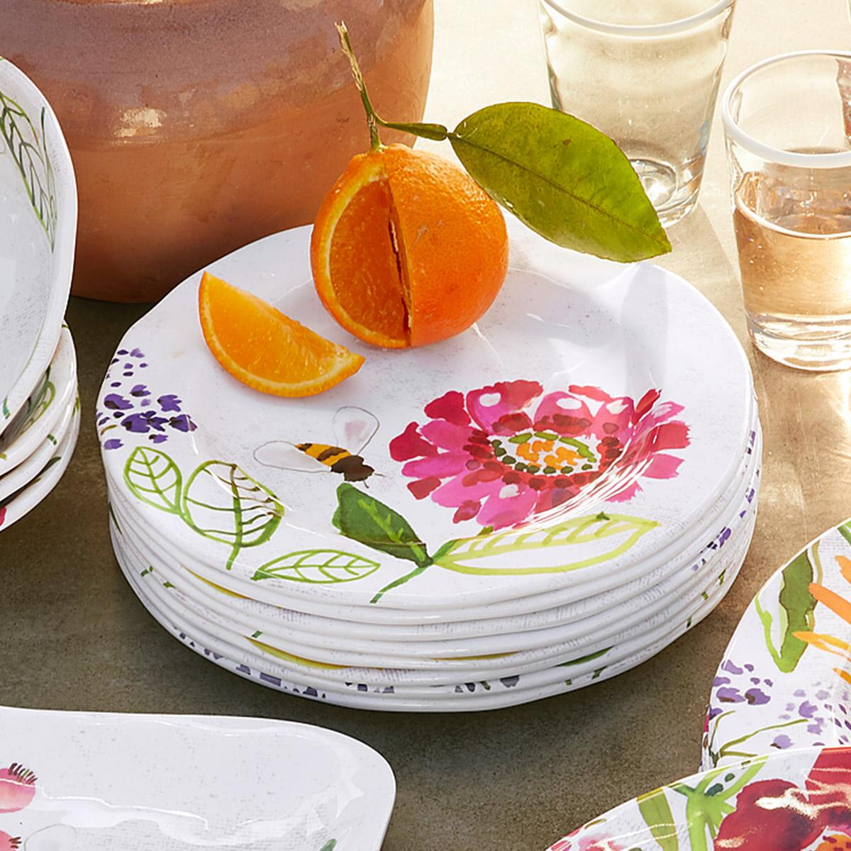 FLORAL MELAMINE SALAD PLATES, SET OF 4: View 2