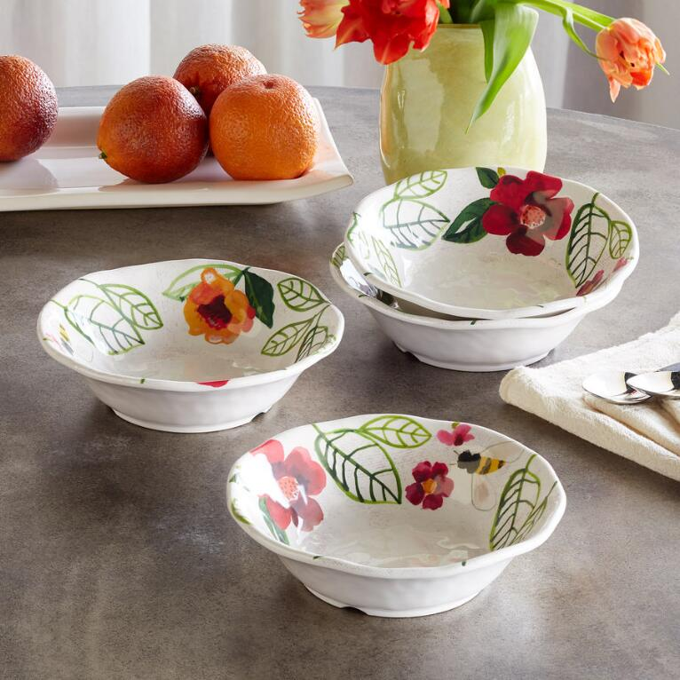 FLORAL MELAMINE DINNER BOWLS, SET OF 4