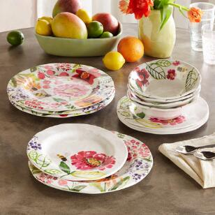 FLORAL MELAMINE DINNERWARE, 12-PIECE PLACE SETTING