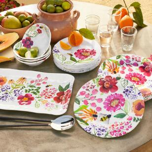 FLORAL MELAMINE DINNERWARE, 12-PIECE PLACE SETTING