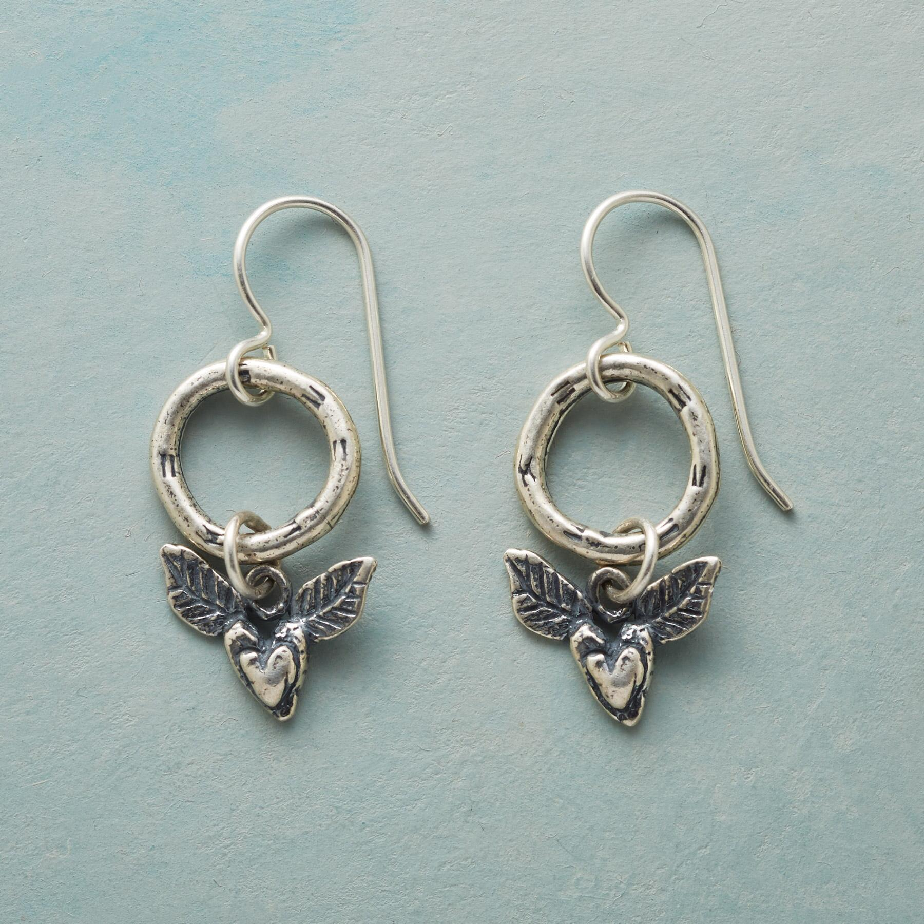 WINGED HEART EARRINGS: View 1