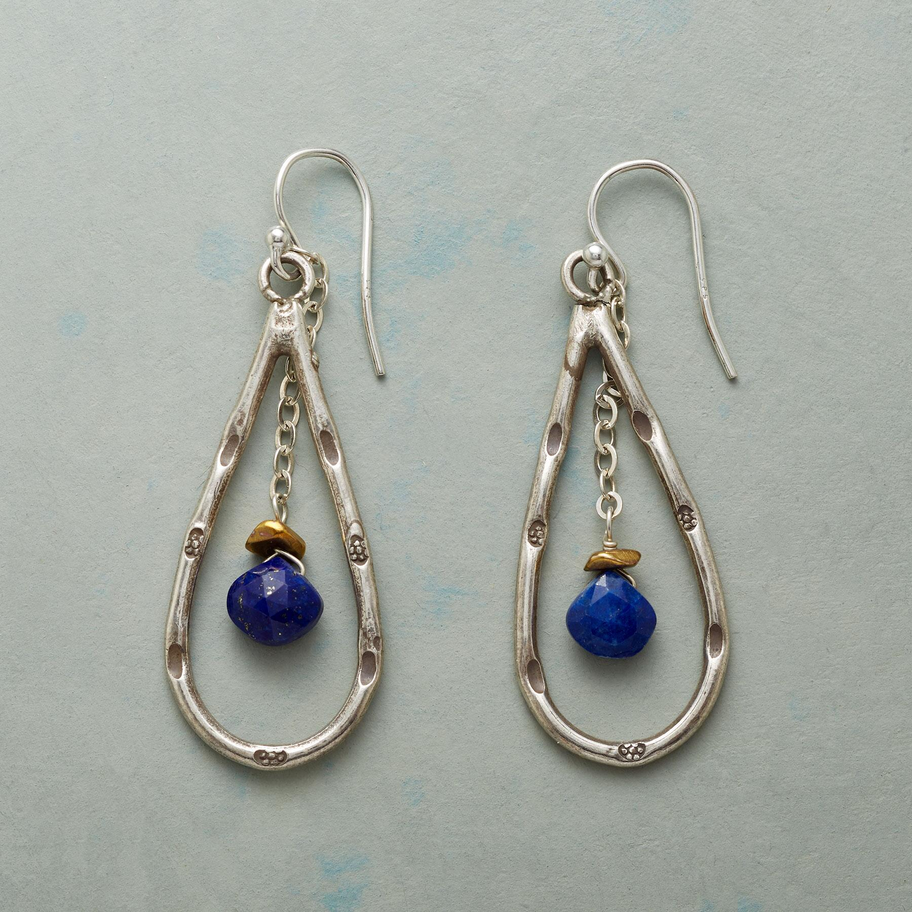 LAPIS DROPLET EARRINGS: View 1