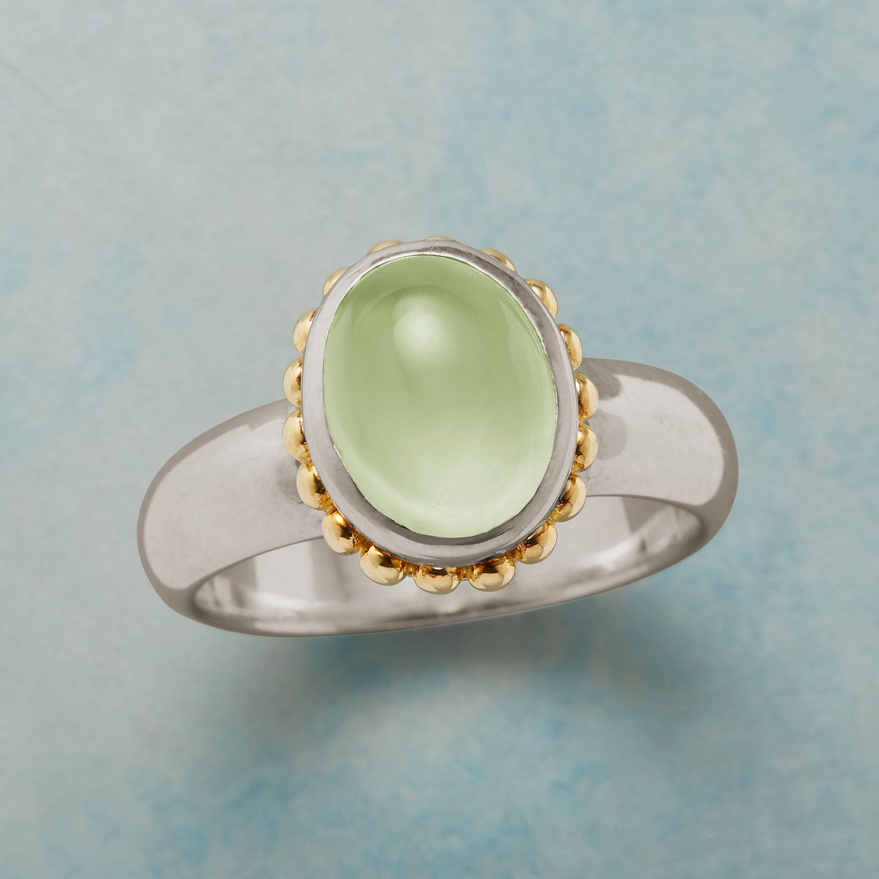 GLOWING PREHNITE RING: View 1
