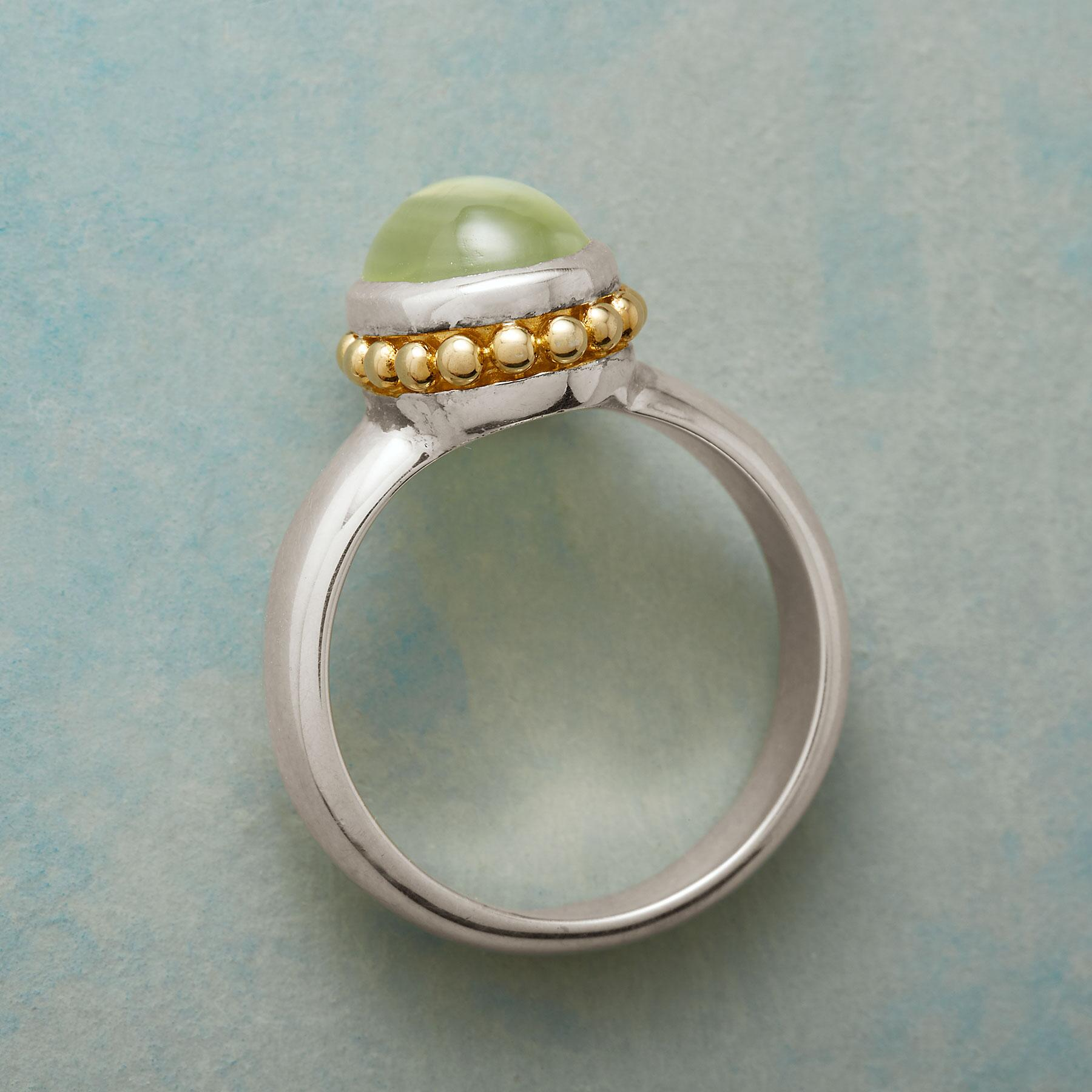 GLOWING PREHNITE RING: View 2