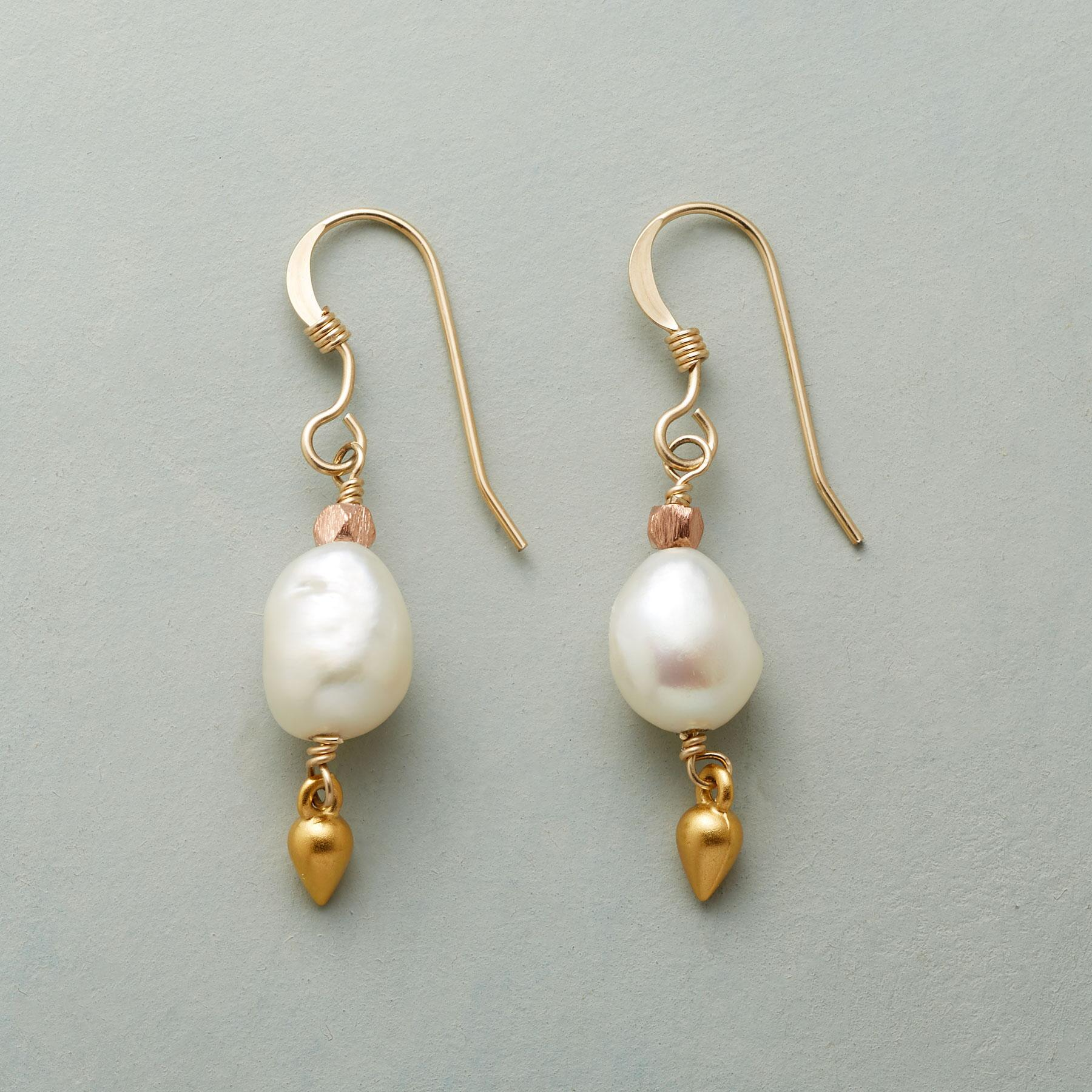 BRASSY PEARL EARRINGS: View 1
