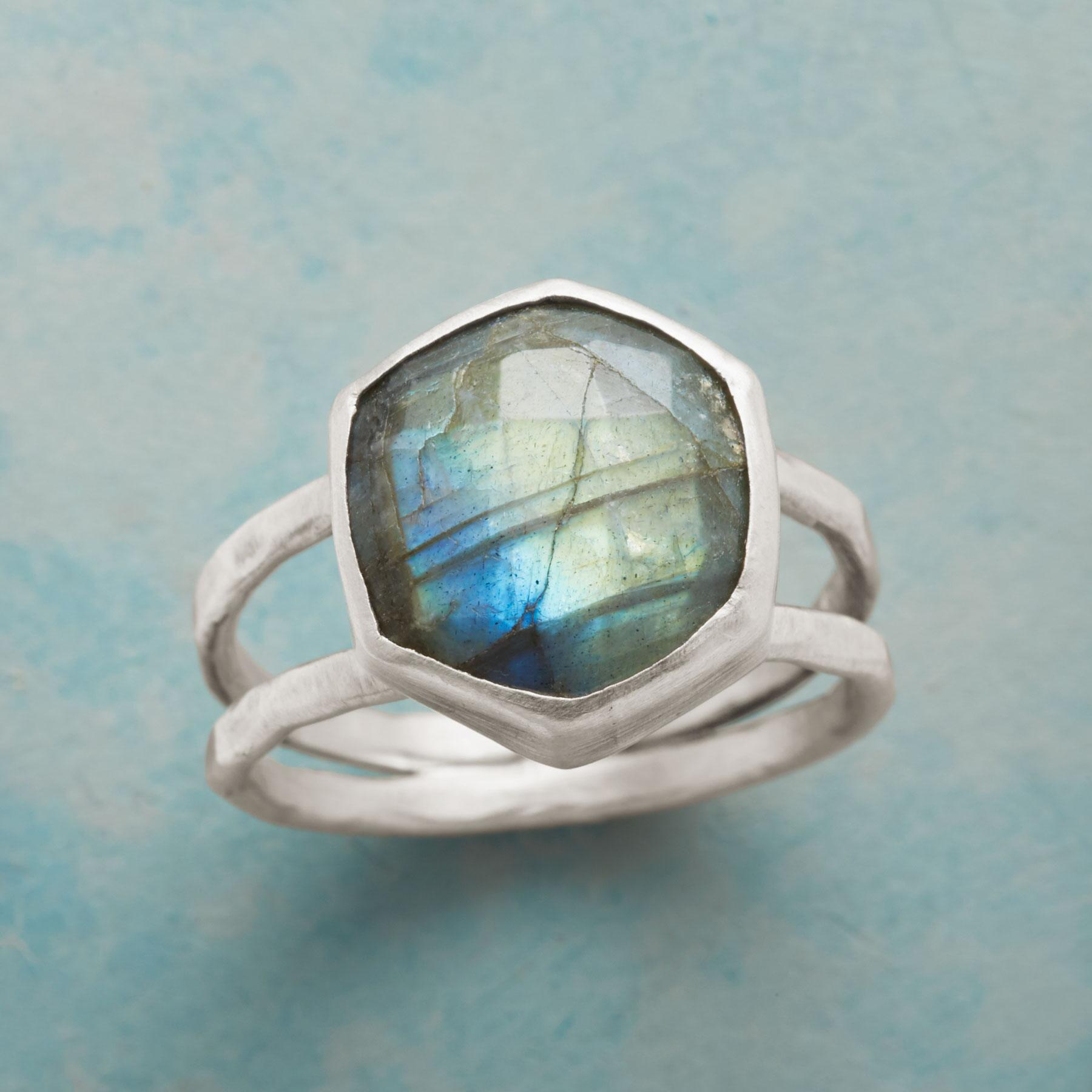 SIX SIDED LABRADORITE RING: View 1