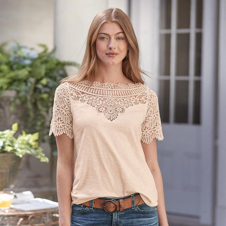 BLUSH OF LACE TEE
