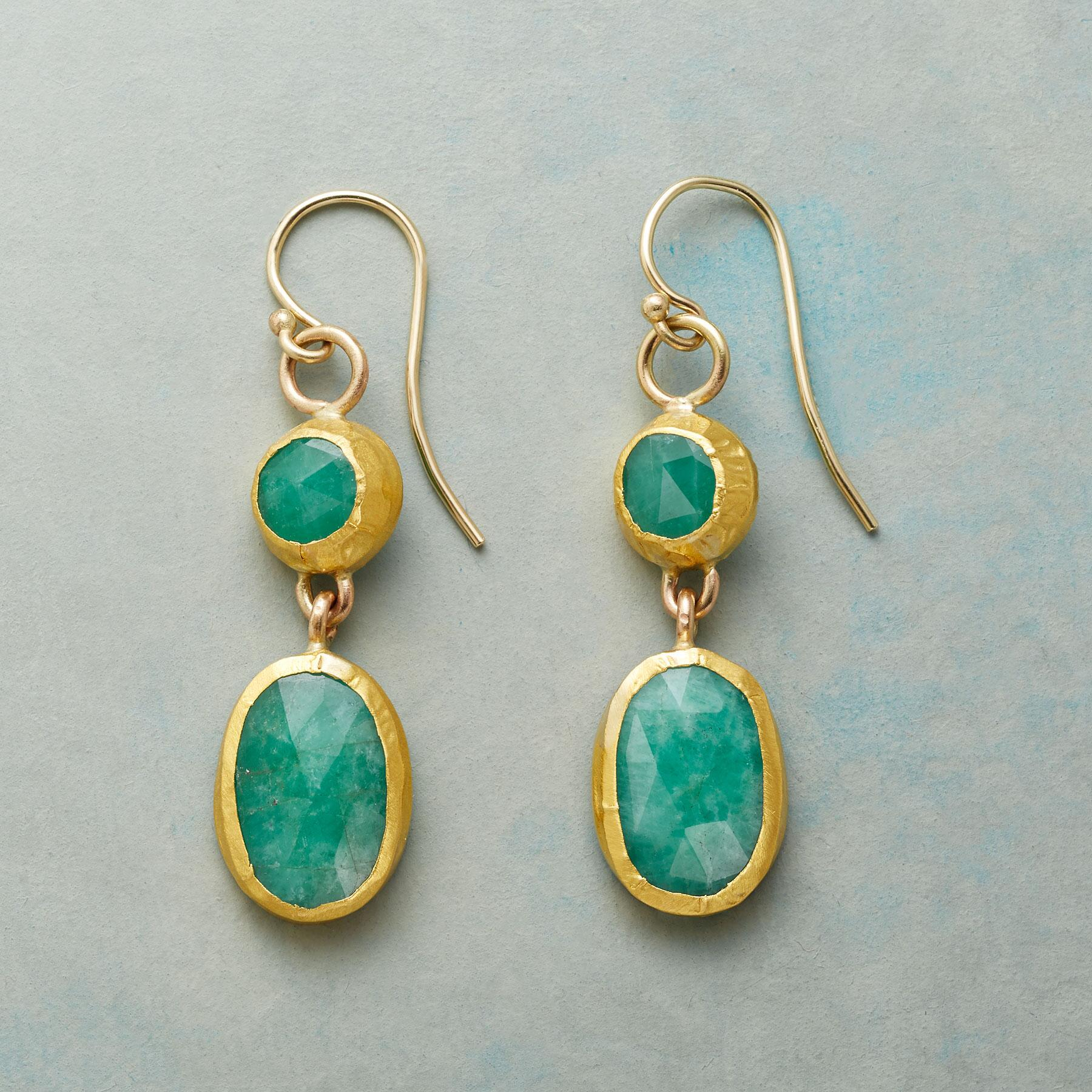 WRAPPED EMERALD EARRINGS: View 1