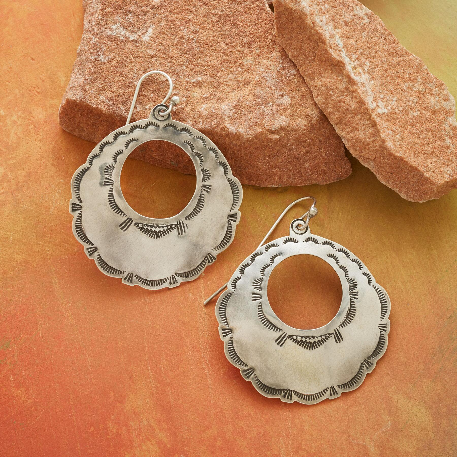 STERLING CONCHA HOOP EARRINGS: View 1