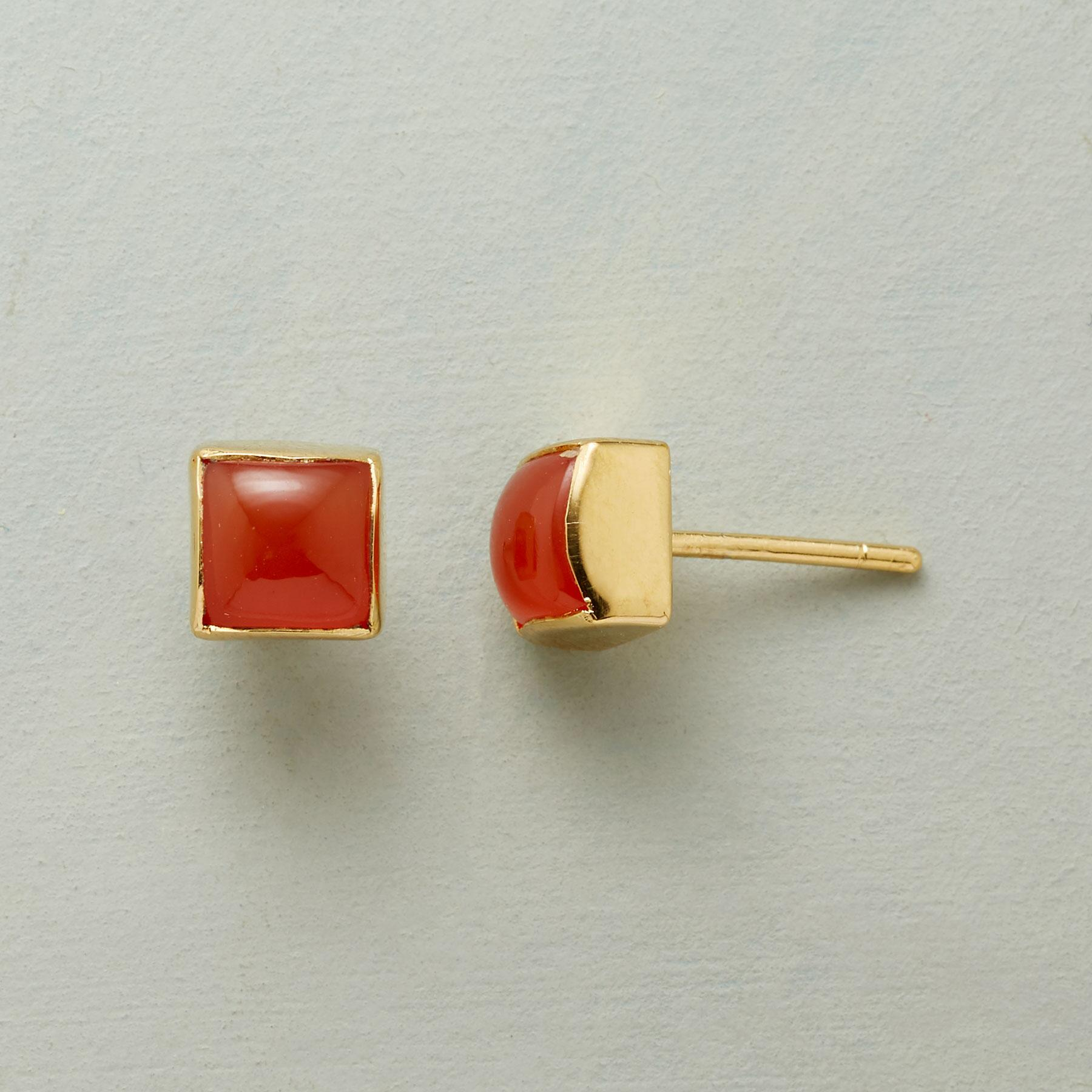 CARNELIAN CUBED EARRINGS: View 1