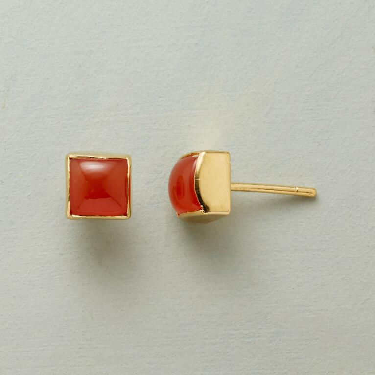 CARNELIAN CUBED EARRINGS