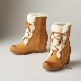 JOAN OF ARCTIC II SHEARLING WEDGE BOOTS