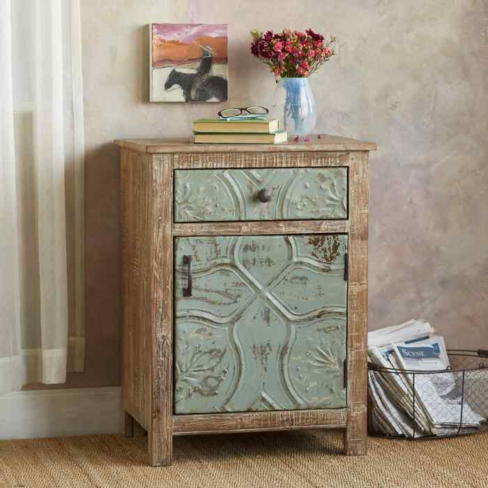 MARIETTA PRESSED TIN NIGHTSTAND