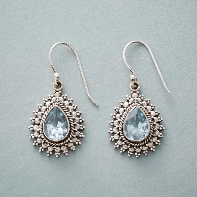 BLUE BEADBURST EARRINGS