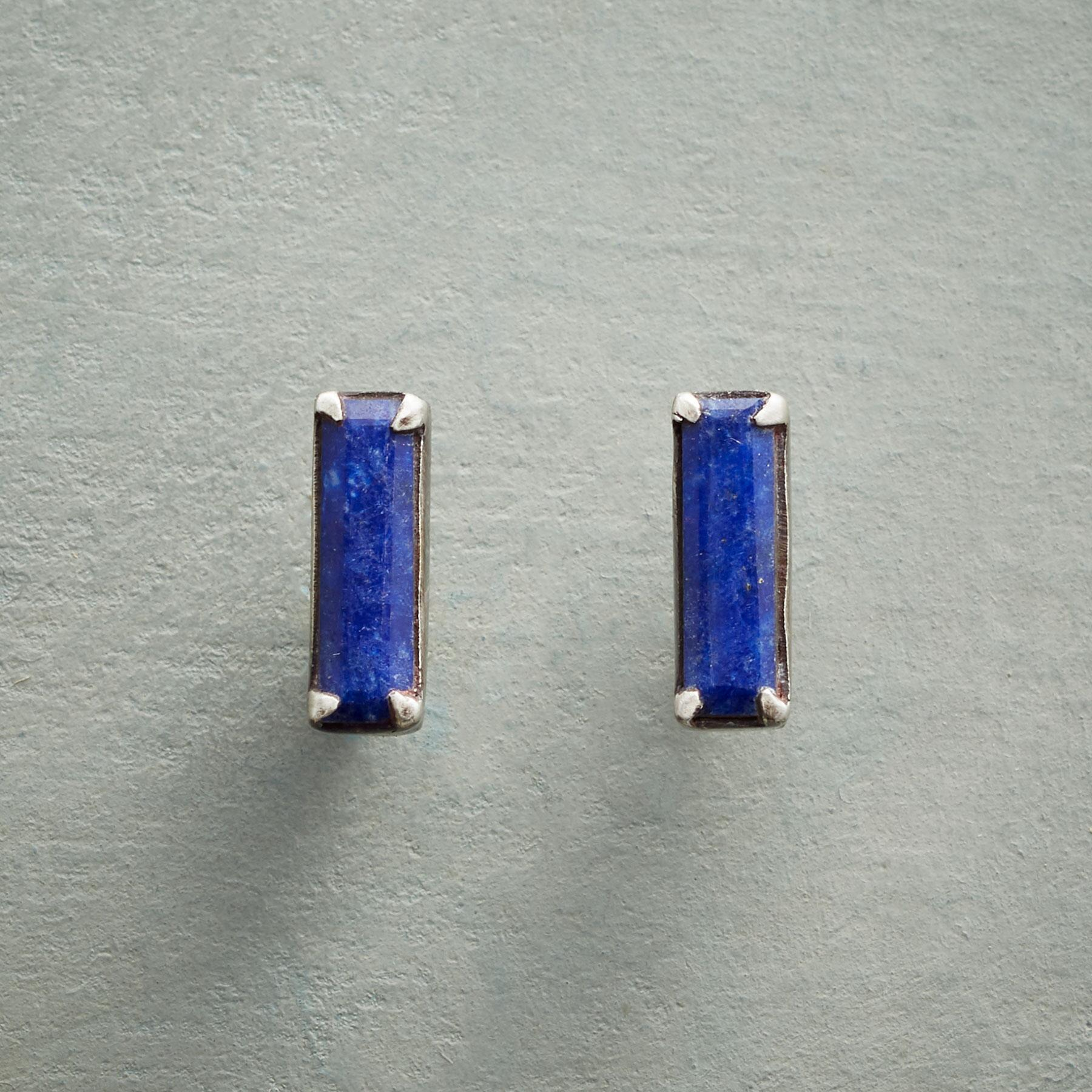 LAPIS BAR EARRINGS: View 1