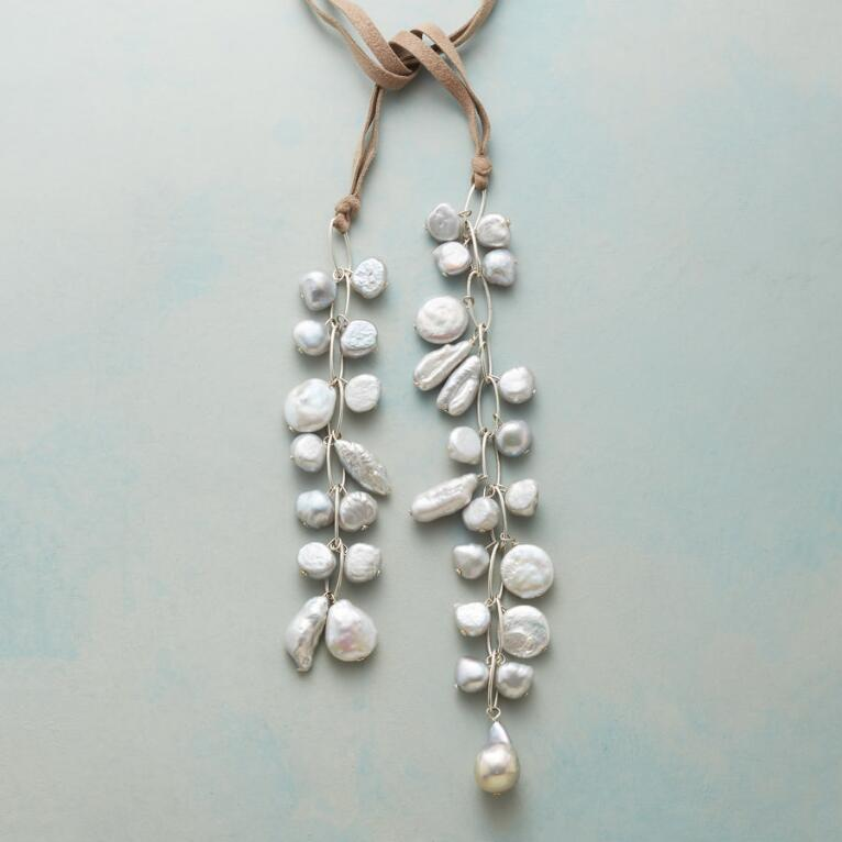 PEARL CASCADE LARIAT NECKLACE