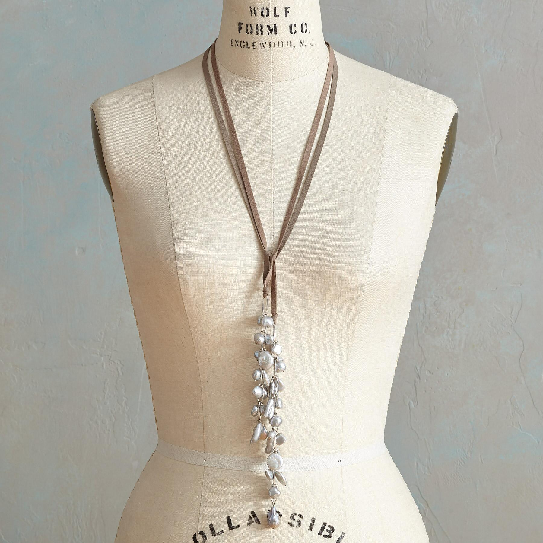 PEARL CASCADE LARIAT NECKLACE: View 2