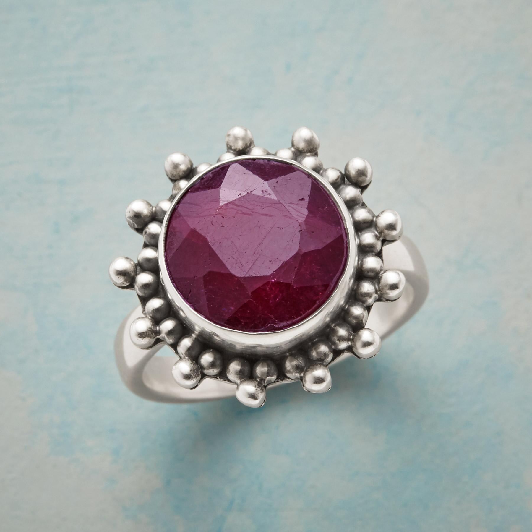 BUBBLED RUBY RING: View 1