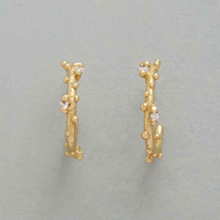 DIAMOND DEWDROP HOOP EARRINGS