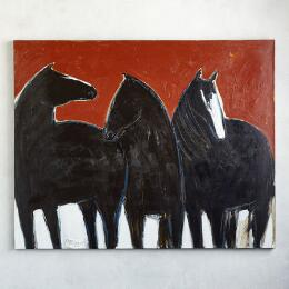 THREE BLACK HORSES PAINTING