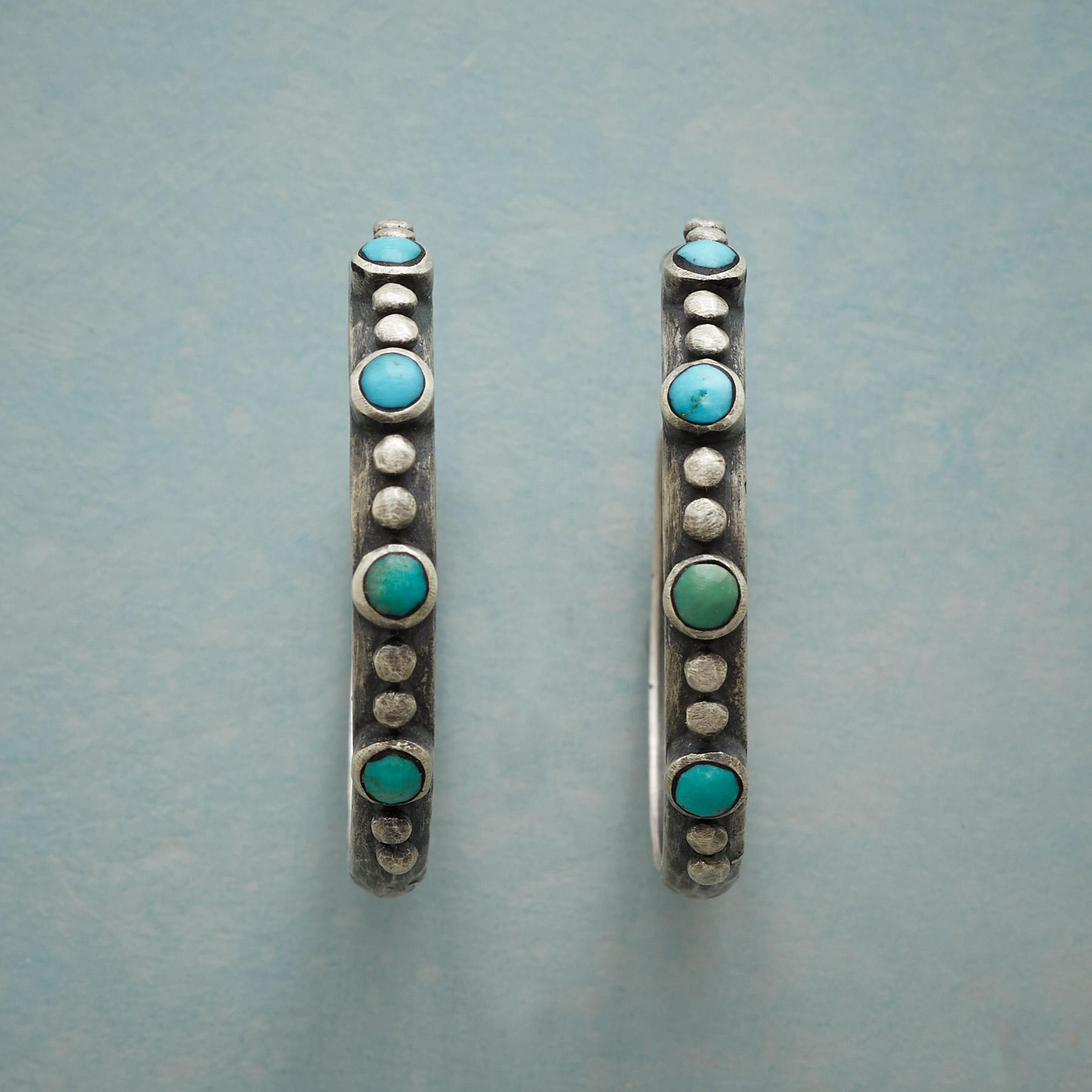 ONE BY TWO TURQUOISE HOOP EARRINGS: View 1