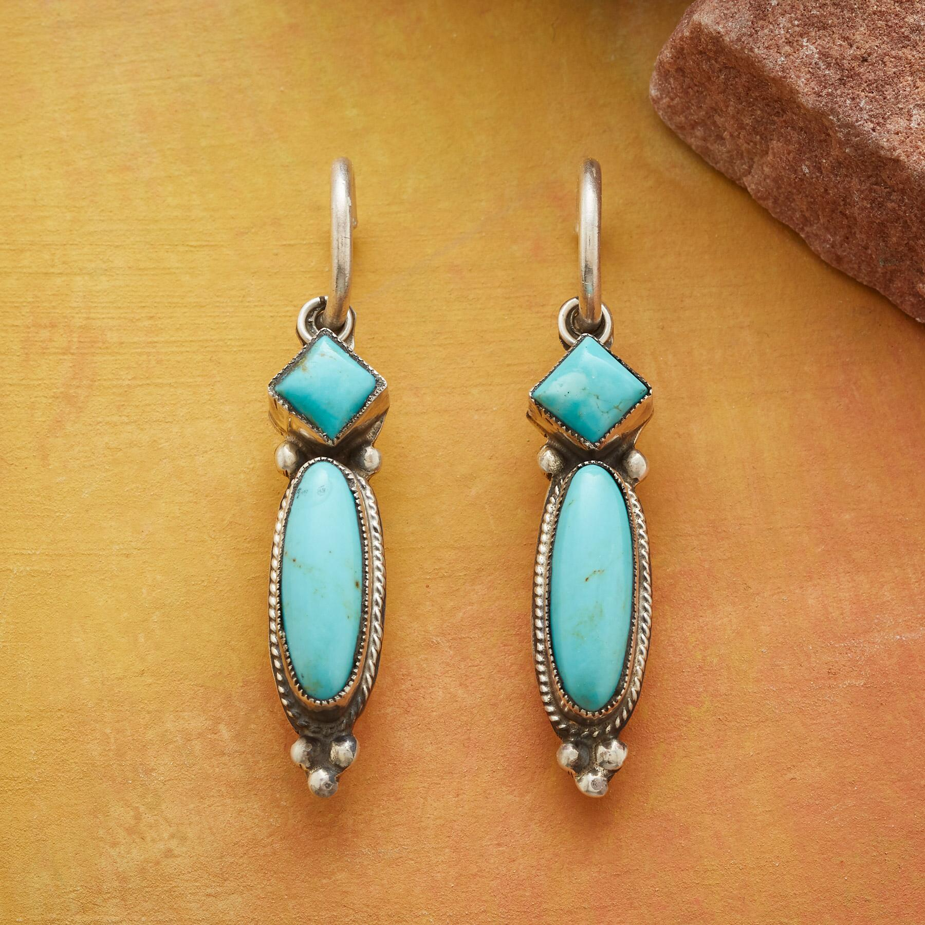 LONG LINE TURQUOISE EARRINGS: View 1