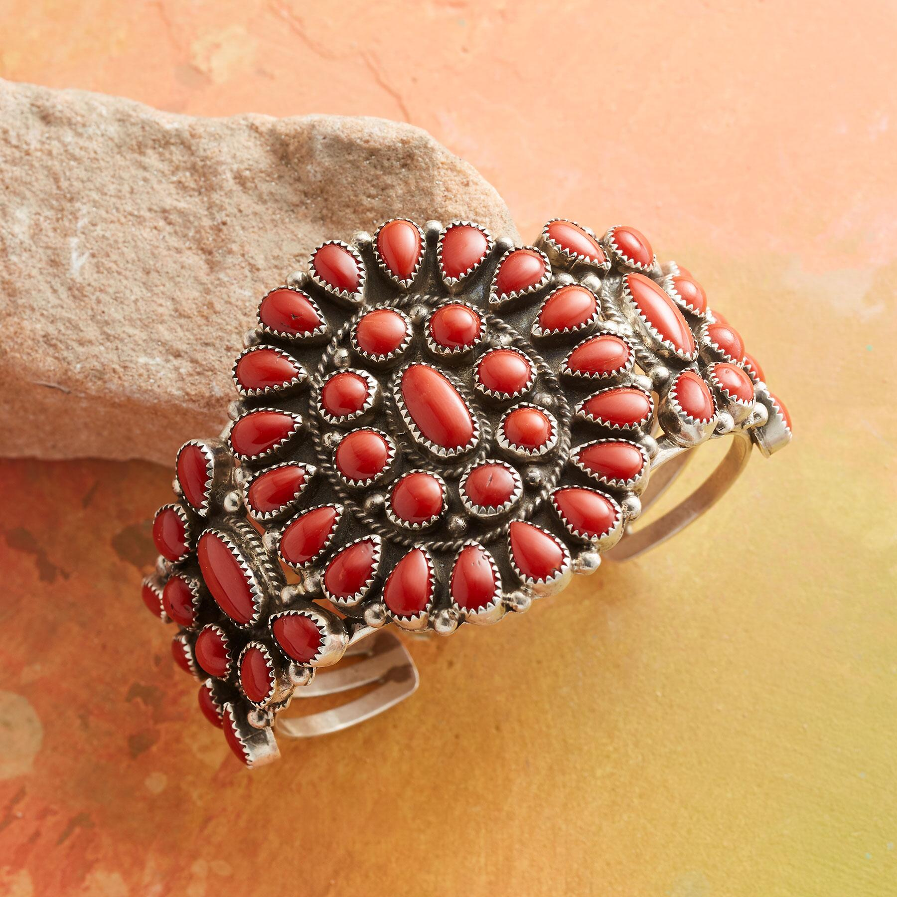 1980S RED CORAL CLUSTER CUFF: View 1