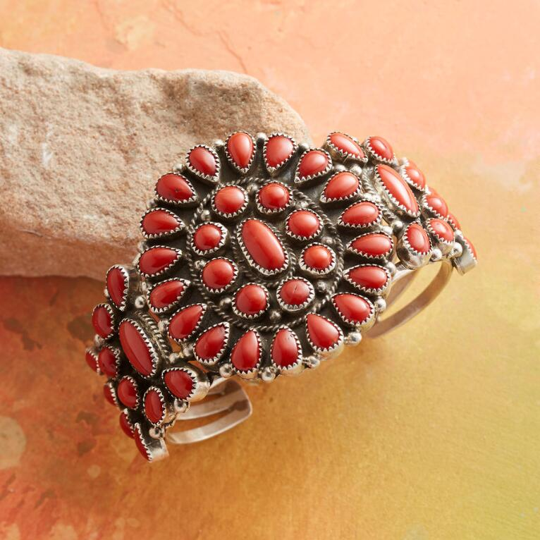 1980S RED CORAL CLUSTER CUFF
