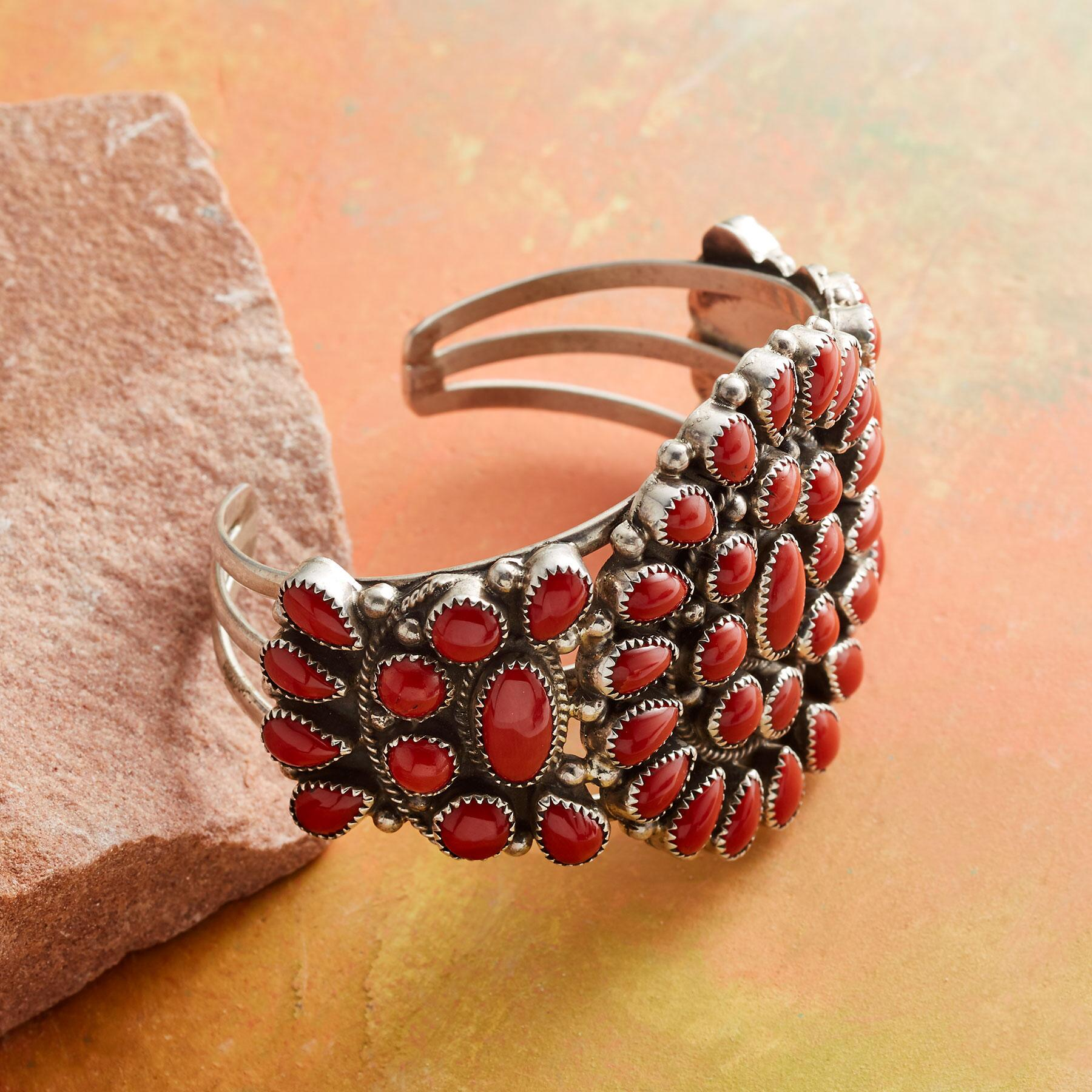 1980S RED CORAL CLUSTER CUFF: View 2