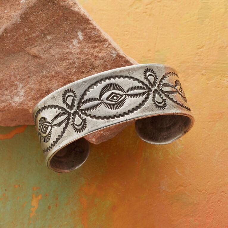 BUFFALO STAMPED COIN SILVER CUFF