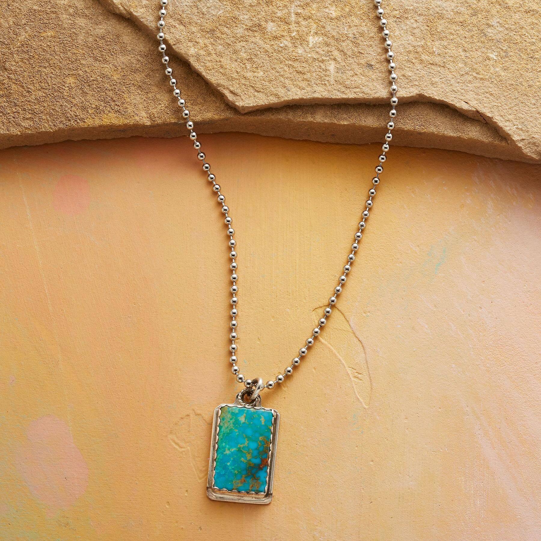 TURQUOISE DOG TAG NECKLACE: View 1