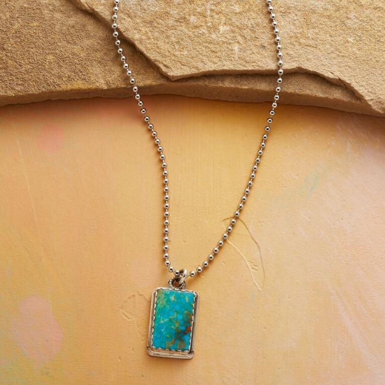 TURQUOISE DOG TAG NECKLACE