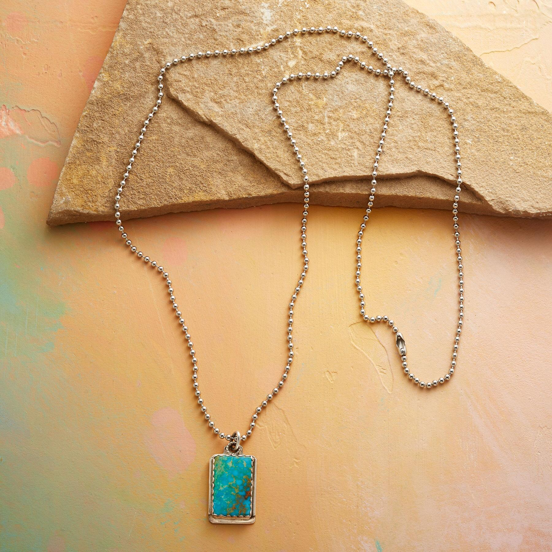 TURQUOISE DOG TAG NECKLACE: View 2