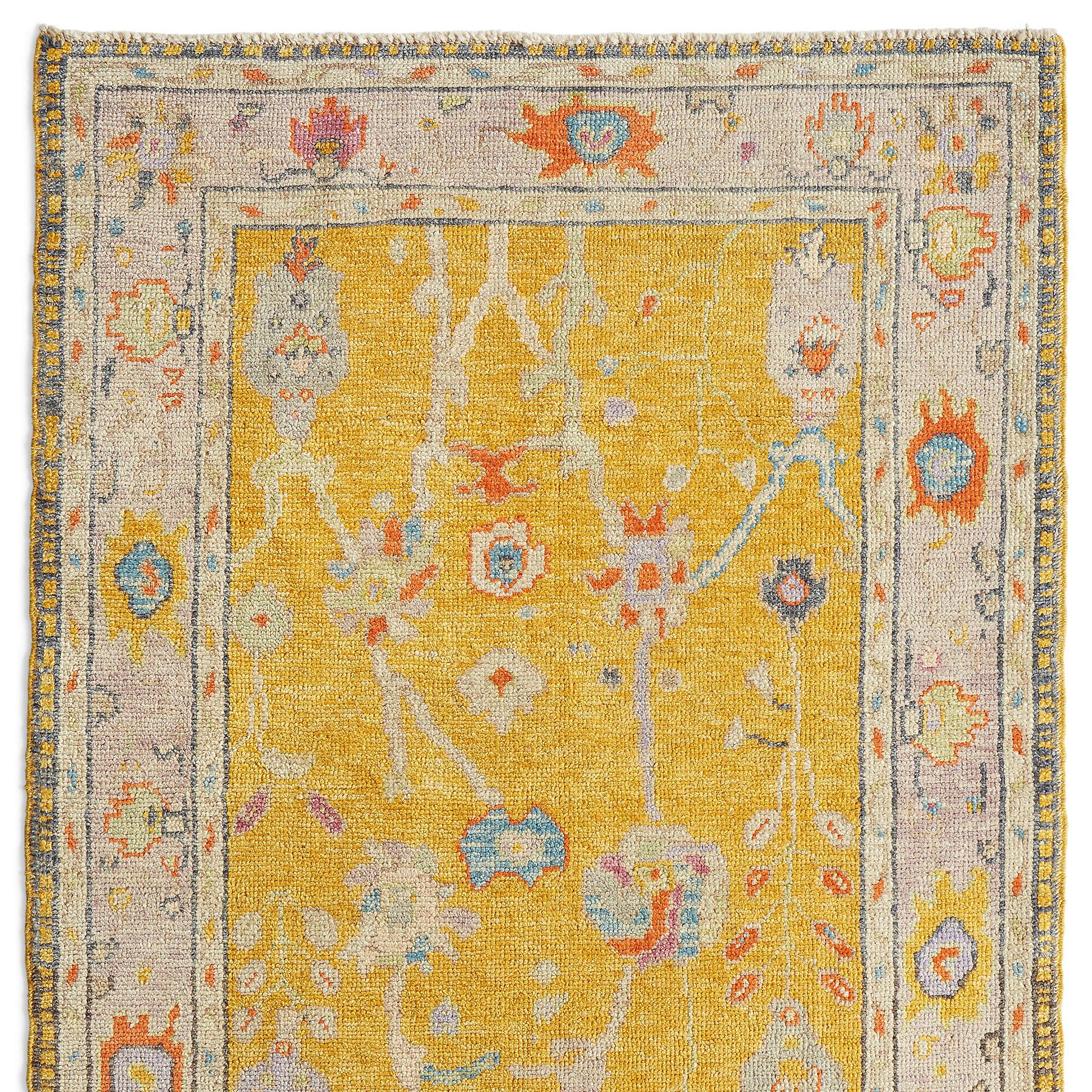 GULBAHAR OUSHAK HAND KNOTTED RUG: View 1