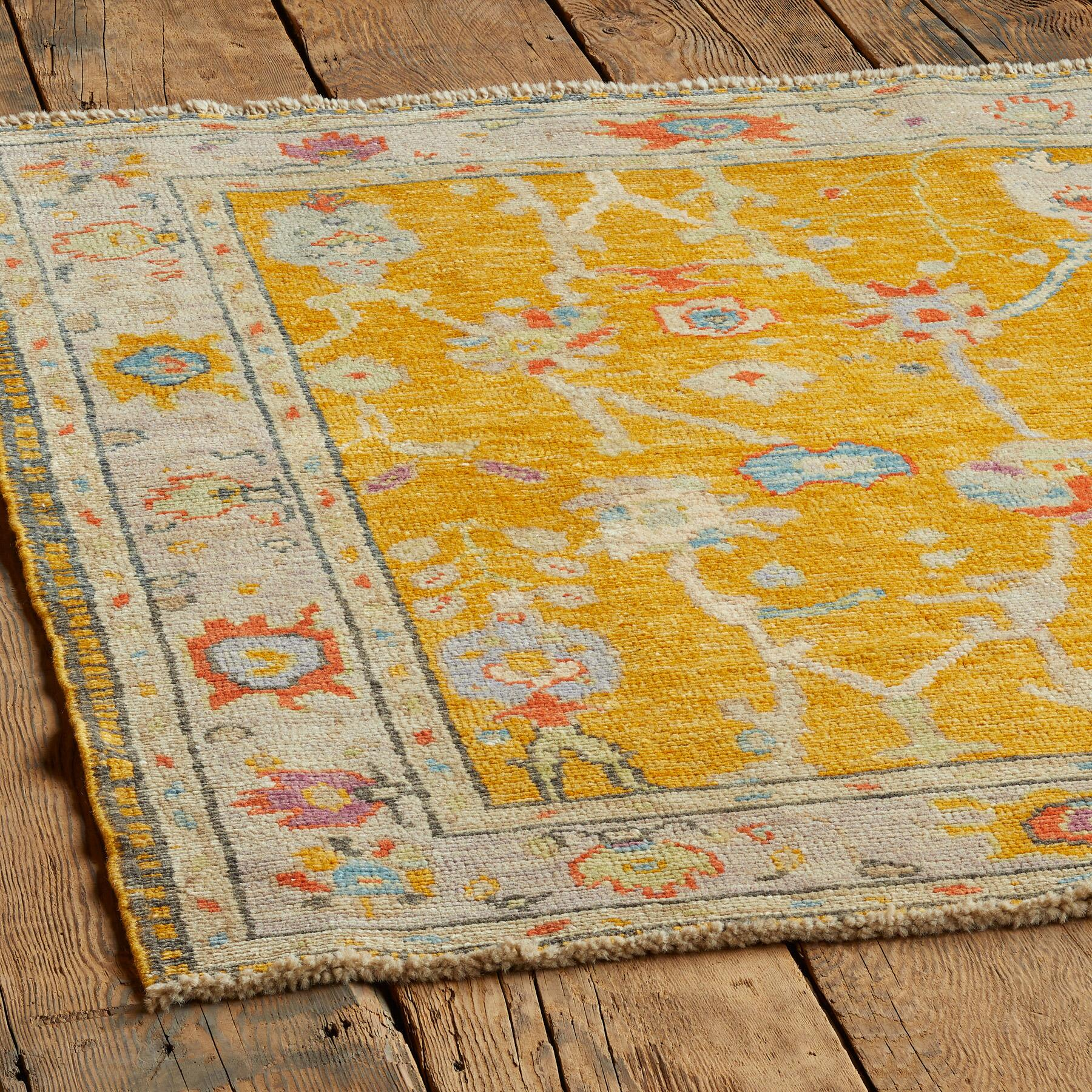 GULBAHAR OUSHAK HAND KNOTTED RUG: View 2