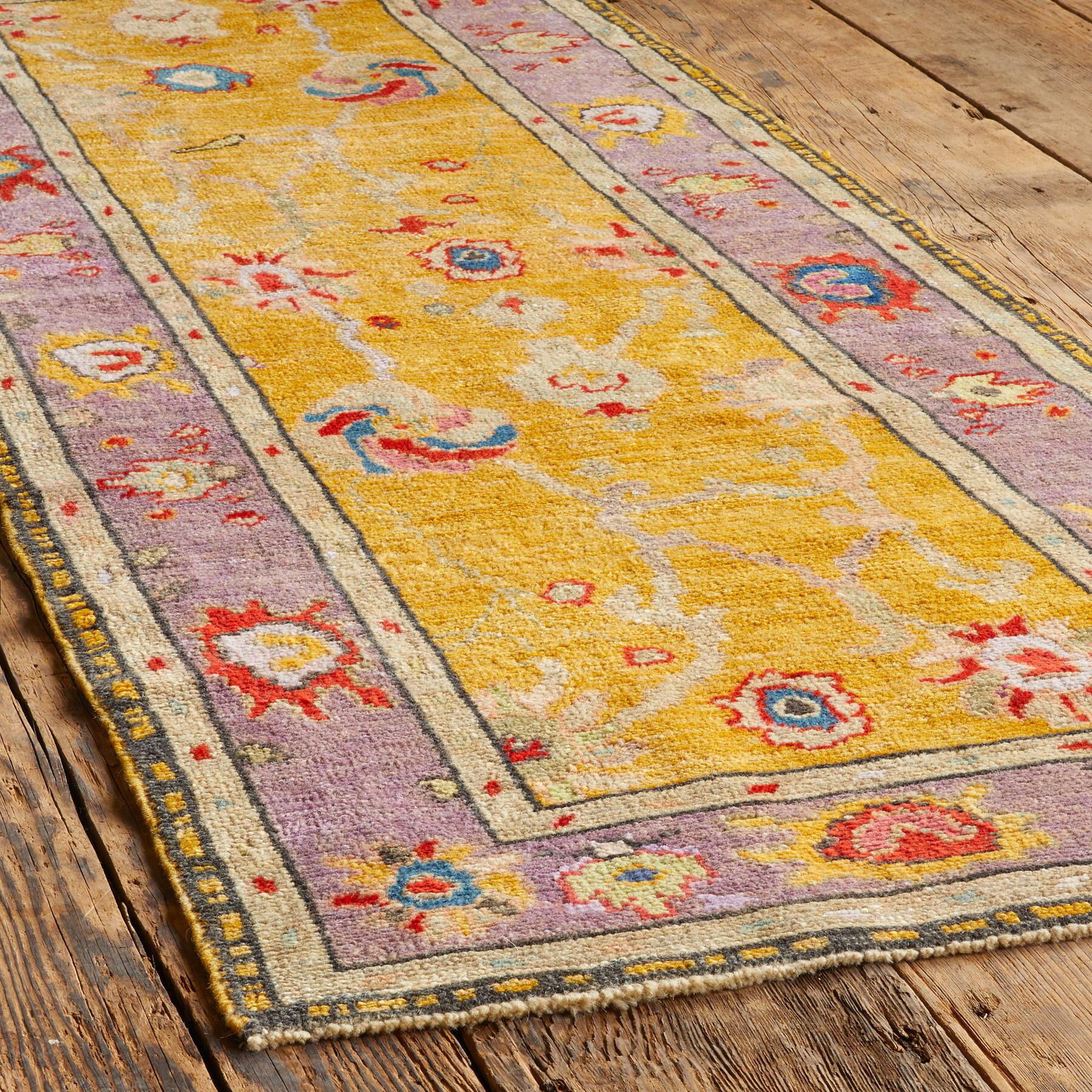 GULBAHAR OUSHAK HAND KNOTTED RUG: View 3