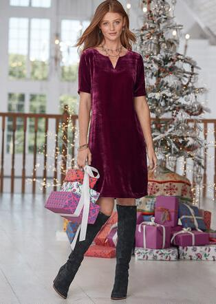 OLIVIA VELVET DRESS - PETITES