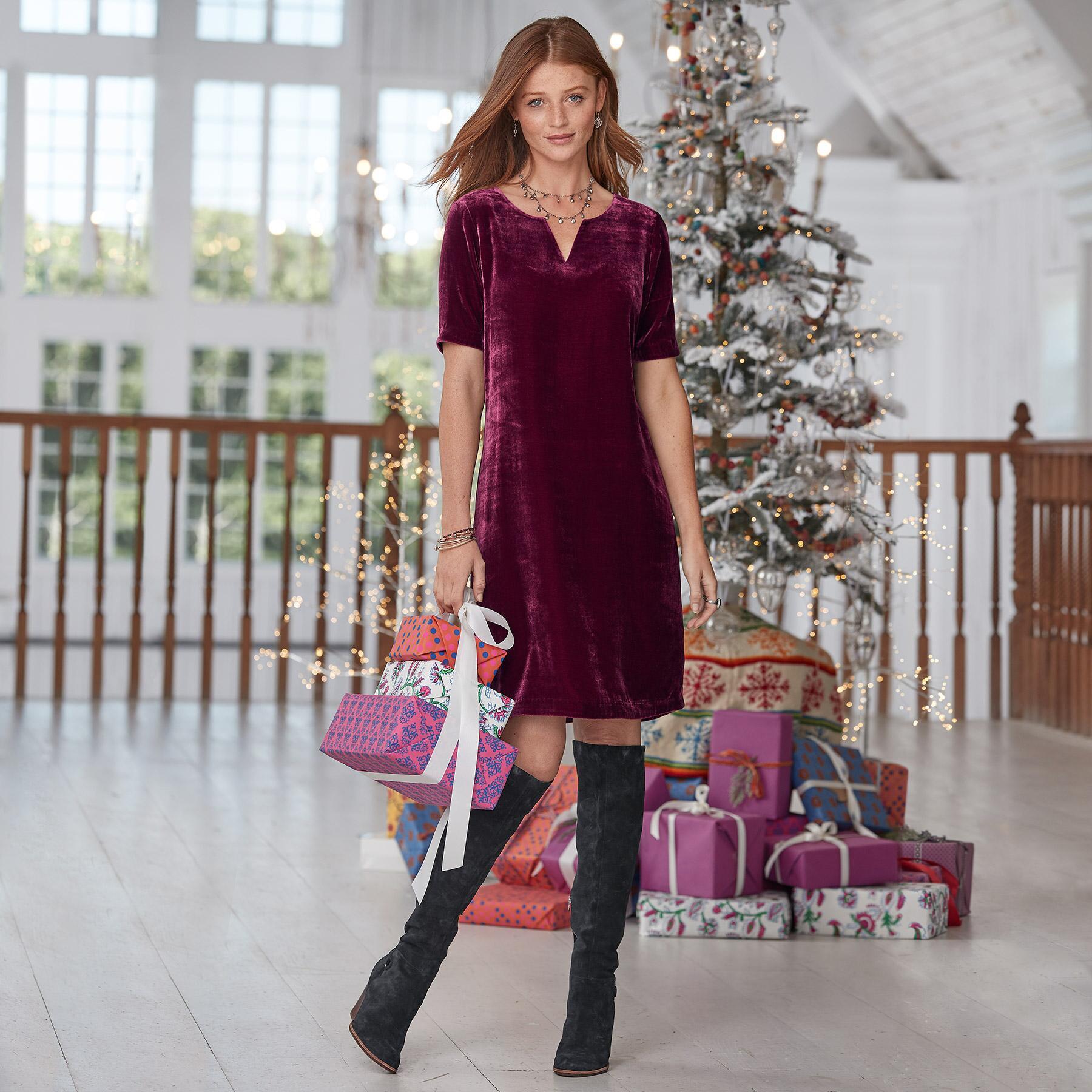 OLIVIA VELVET DRESS PETITE: View 1