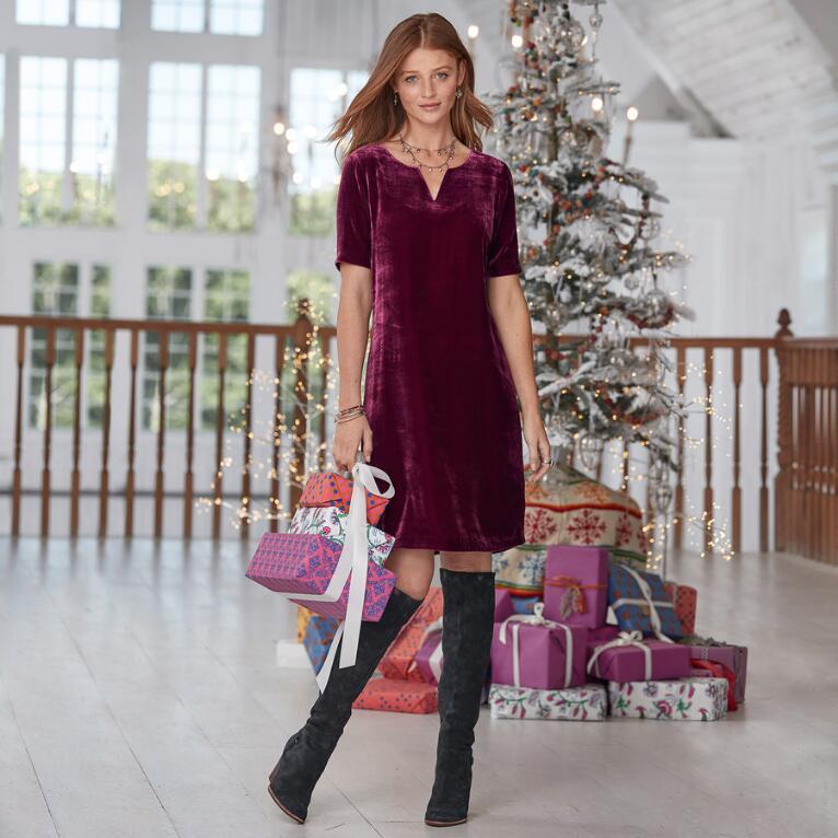 OLIVIA VELVET DRESS PETITE