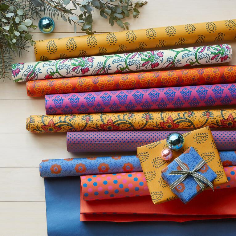 FESTIVE ARRAY WRAPPING PAPER, SET OF 8