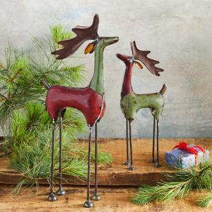 RUDY & ROXY REINDEER, SET OF 2