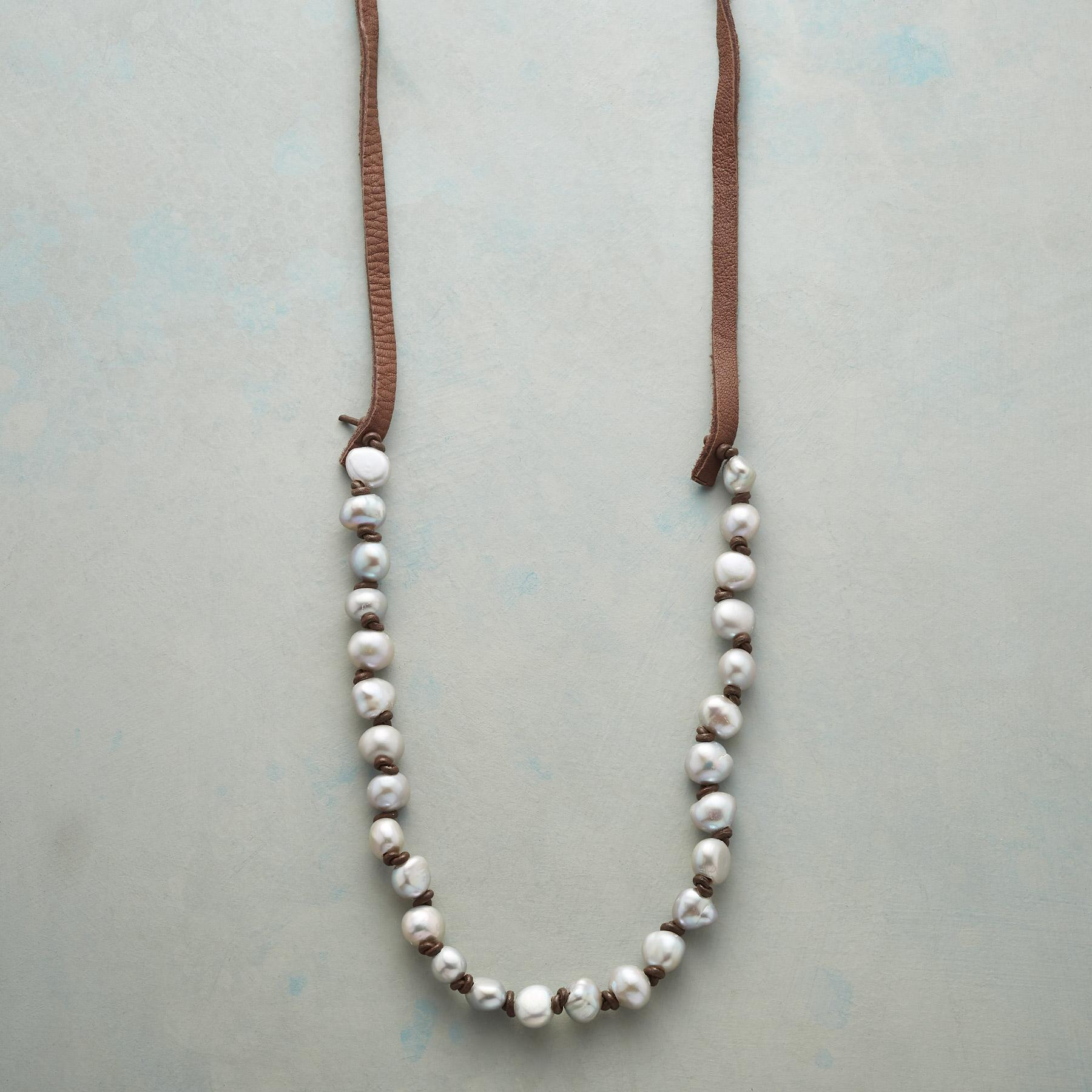 KNOTTED GRAY PEARL NECKLACE: View 1